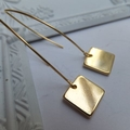16k Gold Plated Square Earrings - on short or long 16k gold plated hooks