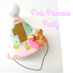 Baby Girl 1st Birthday Party Outfit Party Hat Mint Pink and Gold