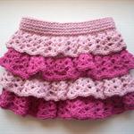 Size 3 - 4 Ruffled Rara Skirt, Lt Pink / Dk Pink Handmade