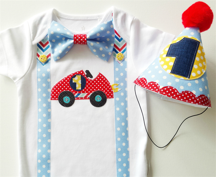 1st Birthday Racing Car Theme Baby Boy Onesie Party Hat All Sizes Available