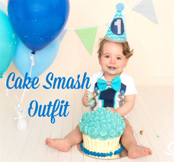 Cake Smash Photo Shoot Baby Boys Fun First Birthday Party Hat