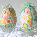 Set of Two fabric covered  Easter eggs boxed