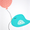 Birthday Card Girl - Turquoise Birdie with Coral Balloon - HBC180