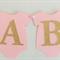 BABY SHOWER ONESIE Pink & Gold Glitter Bunting Baby Girl Banner Garland