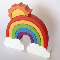 Hand painted Wooden BRIGHT Cloud Rainbow with Sun. (9 Piece)