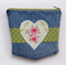 Upcycled Denim Purse with Green Heart detail