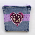 Upcycled Denim Purse with Purple Heart detail