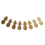Gold Glitter Pineapple Bunting - Hawaiian Tropical Party Garland