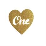ONE HEART Gold Glitter DIY iron on, heat vinyl transfer applique decal