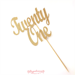 Gold Glitter 'Twenty One' Cake Topper, 21st Birthday Party Cake Decoration