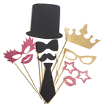 Photo Booth Props 2 - Glitter Moustache, glasses, lips, top hat, tie, crown