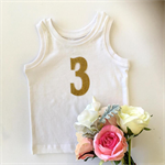 '3' Gold Glitter DIY iron on,  three heat vinyl transfer applique decal