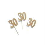 Gold Glitter '30' Cupcake Toppers x 12, 30th Birthday Cake, Thirty Toppers
