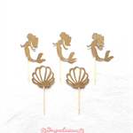 Gold Glitter Mermaid & Seashell Cupcake Toppers, Mermaid Under the Ocean Party