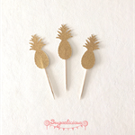 Gold Glitter Pineapple Cupcake Toppers x 12 Hawaiian Tropical Party
