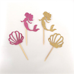 Gold & Pink Glitter Mermaid & Seashell Cupcake Toppers, Mermaid Party