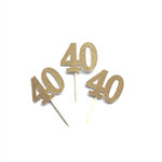 Gold Glitter '40' Cupcake Toppers x 12, 40th Birthday Cake, Forty Toppers