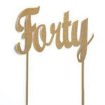 Gold Glitter 'Forty' Cake Topper, 40th Birthday Party Cake Topper Decoration
