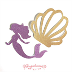 Gold & Purple Glitter Mermaid Ocean Shell Bunting / Garland x 8