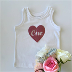 'ONE' HEART PINK Glitter DIY iron on, heat vinyl transfer applique decal