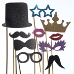 Photo Booth Props 1 - Glitter Moustaches, glasses, lips, top hat, bow tie, crown