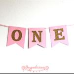 ONE 1st Birthday Pink & Gold Glitter Bunting Banner Garland