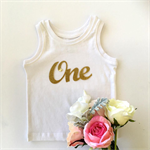 ONE Gold Glitter DIY iron on, heat vinyl transfer applique decal