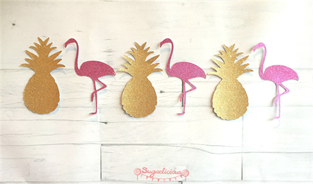Gold Pineapple & Pink Flamingo Glitter Bunting - Hawaiian Tropical Party Garland