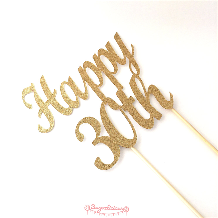 Gold Glitter Happy 30th Cake Topper 30th Birthday Party Cake
