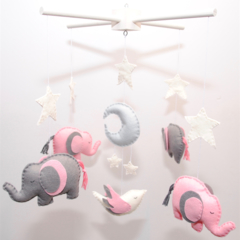 Made-to-order ~ Elephant and baby bird mobile