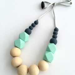 Washable Silicone Slate & Aqua Geometric and Round Wood Necklace