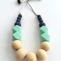 Washable Silicone Slate & Aqua Geometric and Round Wood Necklace