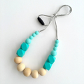 Washable Silicone Aqua Geometric & Round Wood Necklace
