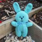 Bunny Rabbit. Knitted soft toy, softie, mint green, baby safe. Happy Easter!