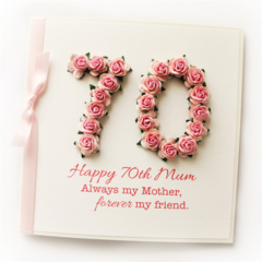 Any Age Mum card | Personalised | Boxed Pink Roses 18 21 30 40 50 60 70 80 90
