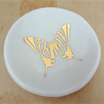 Gold butterfly ceramic ring dish, candle holder, ring holder. porcelain bowl.