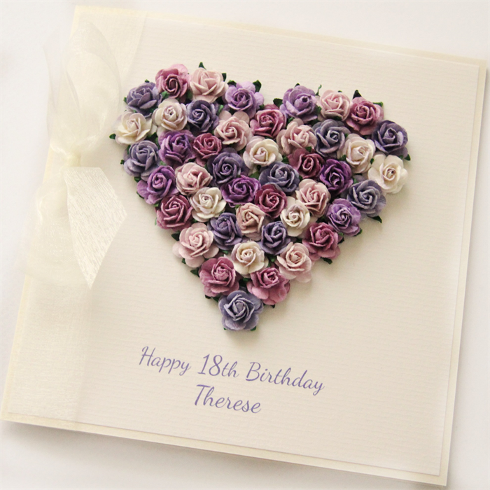 Any Age Personalised Card Birthday Gift Boxed Heart 18 21 30 40 50 60 70 80