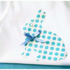 Polka Dot Bunny Applique with blue satin bow and pearl on Onesie / Bodysuit