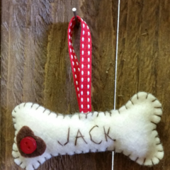"personalised felt ""dog bone""   name tag"