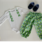 Boy's Green and Navy Star Long Pants Set - Size 00 - 3-6 months