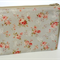 Zippered Wristlet / Purse / Clutch Makeup - Shabby Roses on Soft Grey