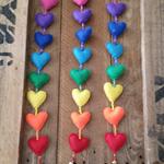 felt rainbow hearts