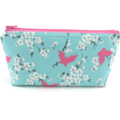 Pink Butterfly on Blue Cosmetic Bag, Zip Pouch, Makeup Bag
