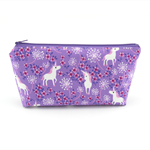 Purple Fairytale Unicorn Cosmetic Bag, Zip Pouch, Makeup Bag