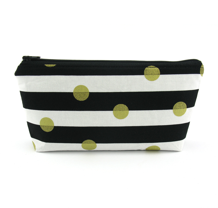 Gold Spots On Black And White Stripe Cosmetic Bag Zip Pouch Makeup