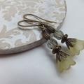 Hand Dyed Olive Green Bell Flower Lucite Earrings