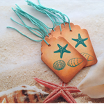 Nautical Gift Tags stencil Shells & Starfish x 10