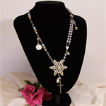 ALTERED PENDANT NECKLACE, Recycled, Diamante Pendant, Crucifix, Rosary