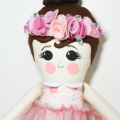Flower crown pink rag doll