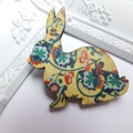 Yellow Vintage Floral Rabbit Brooch